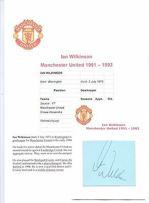 Football Autograph Ian Wilkinson Manchester United 1991-1993 Original Signature