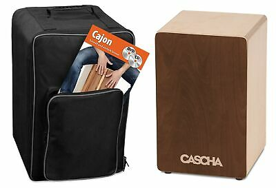 CASCHA Cajon Box Brown Set with Backpack and Cajon School with CD and DVD, fo...