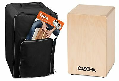 CASCHA Cajon Box Natur Set with Backpack and Cajon School with CD and DVD, fo...