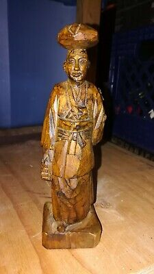 Vintage Wood Art Sculpture Statue Figurine Woman Carrying Child Hand Carved
