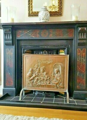 Unusual Large Vintage Arts & Crafts Embossed Copper Fire Guard Fireplace Screen