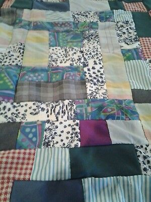 """Vtg Baby Quilt Top HAND SEWN Scrap Pieced Multi Colored 27 X 31"""" NOT QUILTED"""