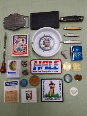 Vintage Junk Drawer Lot Pocket Knives Tokens Lighter Belt Buckle Coins Cards
