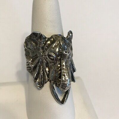 HuGe - Sterling Silver Ring Size 9 3/4 925 Elephant Head Trunk Up 14 G