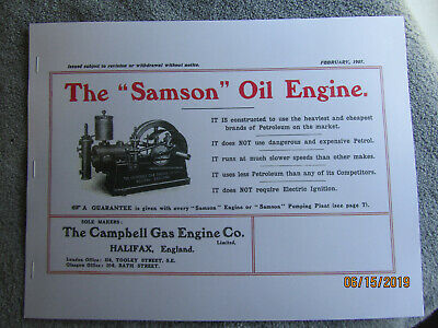 "1907 Campbell Gas Engine Co. ""Samson"" Oil Engine  Info Catalog  Halifax England"