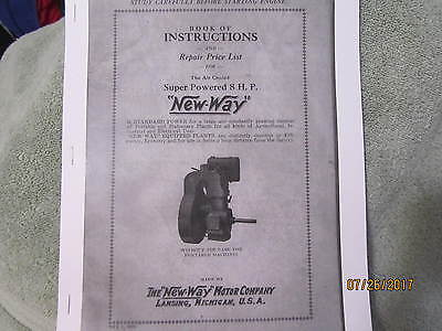 New Way Motor Co 8HP Gas Engine Instruction & parts Manual  Super 8