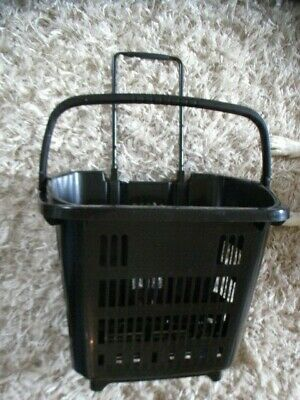 6 x Aravan Black Shopping Baskets with Wheels and Telescopic Handle 34L