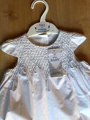 M&S 100% Cotton Lined Christening Gown Baptism Gown White Age 6-9 Months BNWT