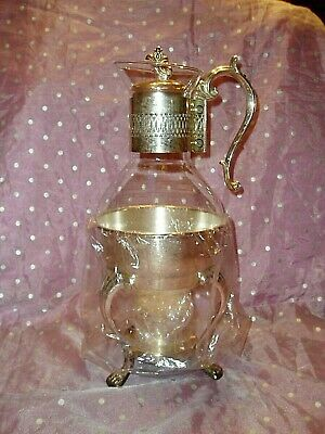 "Vtg, ""Fb Rogers Silver Plated Coffee / Tea Carafe Set W/ Footed Warming Stand"""