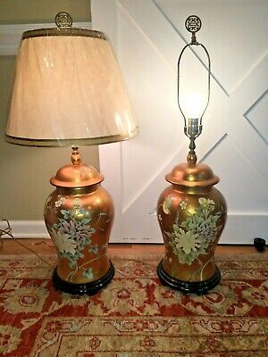 Pair Eglomise Hollywood Regency Chinoiserie Gilt Vintage Vase Ginger Jar Lamps
