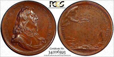 GREAT BRITAIN Charles I 1649 BRONZE MEDAL PCGS MS62 TOP GRADED EIMER-162a