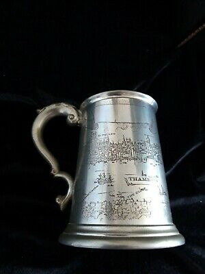 London Thames scene - Thamesis  Fluvius  English Pewter tankard approx 1 pint