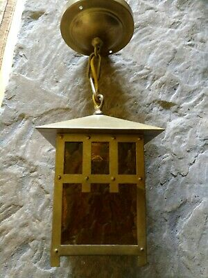 Antique Vintage Mission Arts & Crafts Prairie Pendant Light Fixture Brass Amber