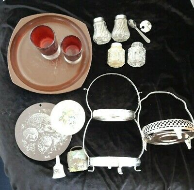 Vintage 11 x JOB LOT Silver Plate Carrier, Cruets, cow bell, Sark, Twinco, Red
