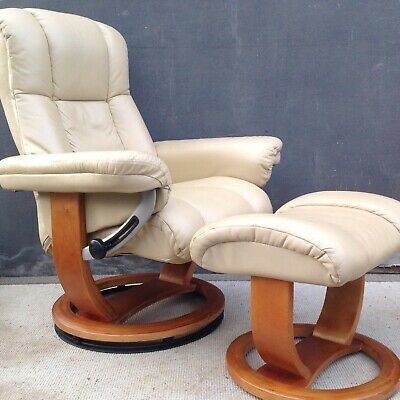 HSL Stressless cream leather recliner with footstool 2 available