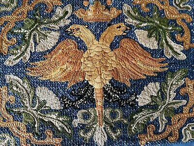 Vintage Arts & Crafts hand embroidered tapestry panel picture 2 headed eagle