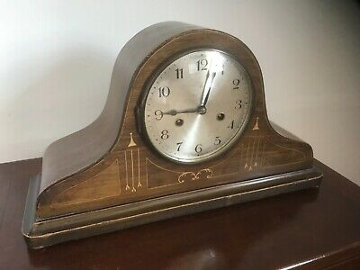 Antique Art Deco wooden cased mantle clock fully working