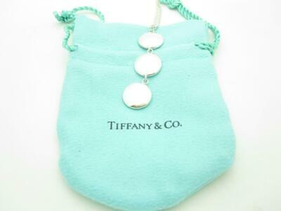Tiffany & Co Italy Sterling Silver Triple Circle Disc Drop Pendant Necklace 16""
