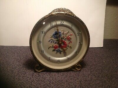 FLORAL ALARM. CLOCK, Made in Great Britain, working fine.