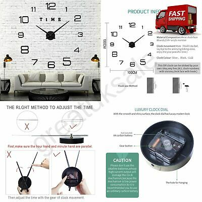 3D Large Wall Clock DIY Modern Frameless Stick On Silent Non Ticking Bedroom New