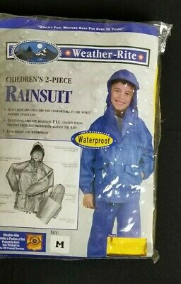 Weather-Rite Childs Rain Gear 2 Piece BLUE Hooded Rain Suit Size Small  (8-10)
