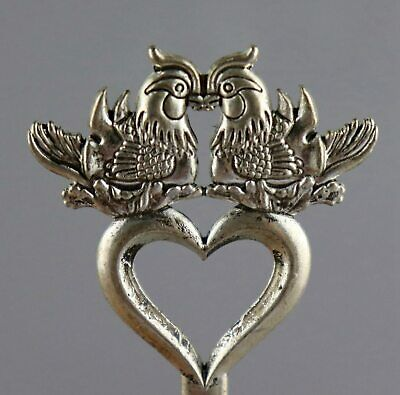 Collect Old Tibet Silver Hand Carve A Pair Mandarin Duck Delicate Lovely Hairpin