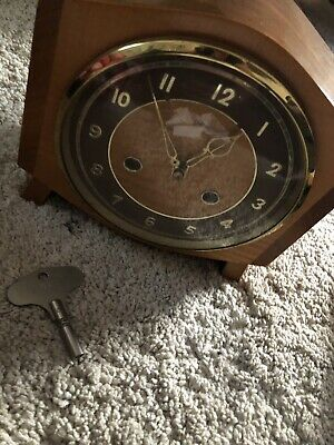 Vintage Smiths Enfield Mantel Clock WITH KEY