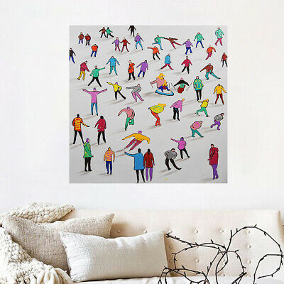 Abstract Hand Painted Art Canvas Oil Painting Modern Home Decor Framed Skiing