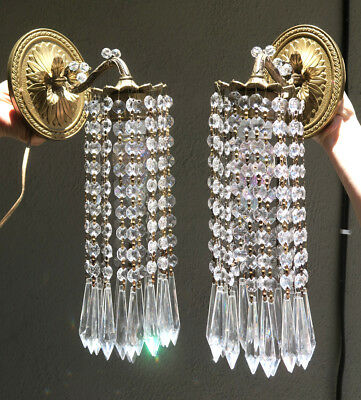 Vintage Sconces Brass fountain waterfall lamp Crystal Glass Pair French beaded