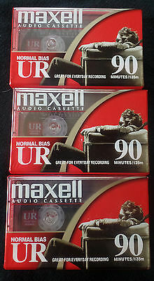 Maxell Normal Bias Audio Cassette Tapes Set of 3 90 Minutes IEC Type 1