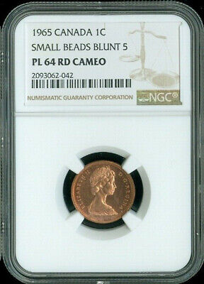 1965 Canada 1 Cent Small Beads Blunt 5 Ngc Pl64 Rd Cameo Deal