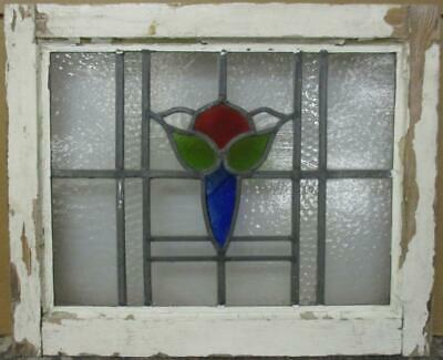 "OLD ENGLISH LEADED STAINED GLASS WINDOW Pretty Abstract Design 20.25"" x 16.5"""