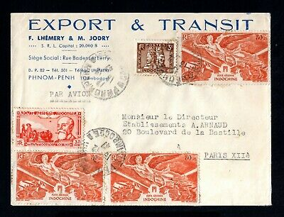 35-INDOCHINE-OLD COVER PHNONPENH (cambodge) to PARIS (france) 1947.WWII.VIETNAM