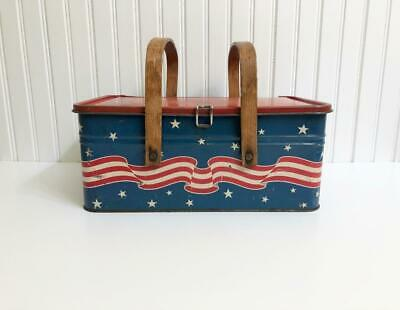 Vintage Patriotic Golden Cookies Metal Picnic Tin 4th July Red White Blue AAFA