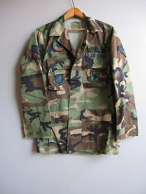 Vtg Air Force Patch Camo Jacket Shirt Camouflage Military Woodland Small Long