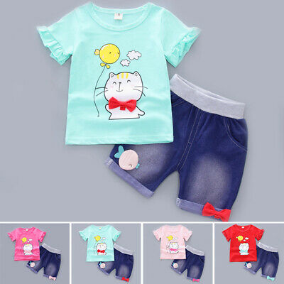 Casual Tops+shorts Outfit Summer Short sleeve Crew neck Baby Toddler Children