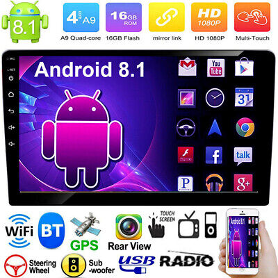 """10.1"""" 2Din Quad-Core Android 8.1 Car Stereo MP5 Player GPS AM FM Radio WiFi BT"""