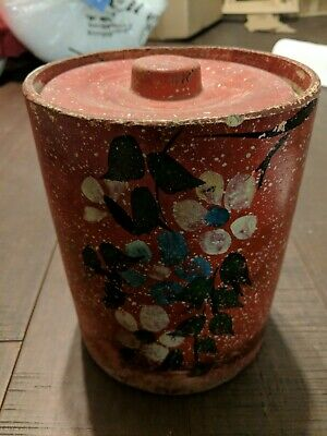 Antique mid 19th C Stoneware Crock - Hand Painted Floral Decorated