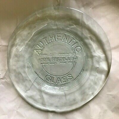 """Authentic 100% Recycled Glass ~ Light Green 8"""" Salad / Luncheon Plate ~ Used"""
