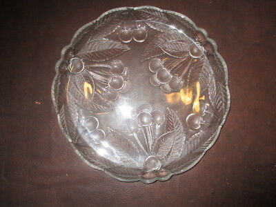 Mw.6G: Antique Glass Etched Tray Cake Fruit Plate Dish With Berries