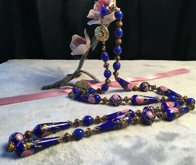 Striking Vintage Art Deco Blue pink Gold Wedding Cake Glass Bead Long Necklace