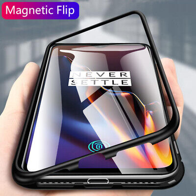 Magnetic Adsorption Metal Case Tempered Glass Back Cover For OnePlus 7 Pro 5T 6T
