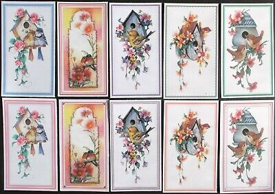 Very Cute Birds & Birdhouses Card Toppers X 10 Lovely Colours 2 Of Each Picture