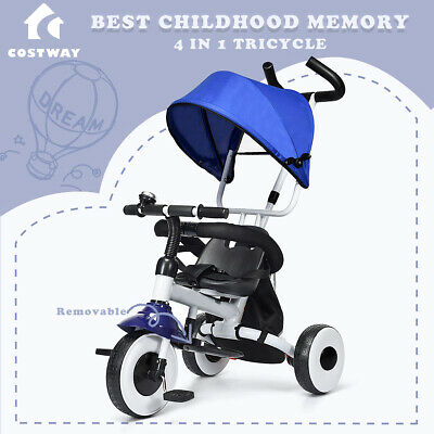 4-in-1 Kids Baby Tricycle Toddler Stroller Fold Learning Bike Ride on Trike Pram