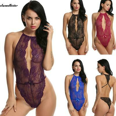 Donne Sexy Monokini pezzi Lingerie Halter Backless pizzo floreale Hollow CLWR