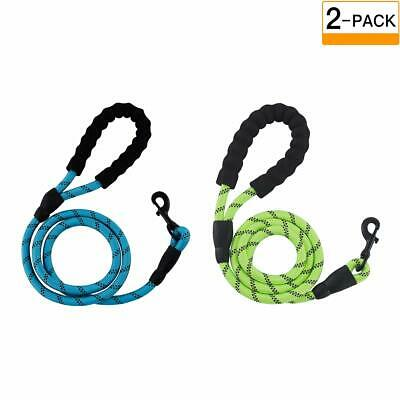 2 Pcs 5 FT Rope Dog Lead with Soft Padded Handle and Highly Reflective Threads