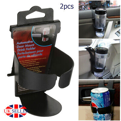 2X UNIVERSAL In Car Drinks Cup Bottle Can Holder Foldable & Clip On Easy Install