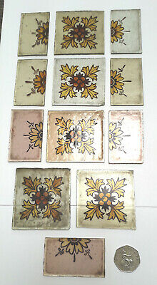 Selection of small salvaged early Victorian stained glass feature panels.