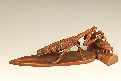 antique old boxwood hand carved mantis cicada statue netsuke collectable gift