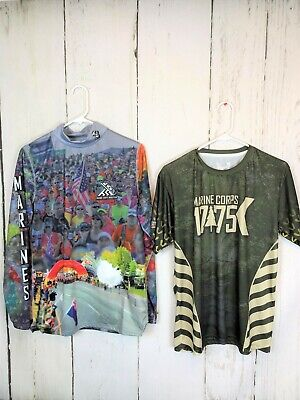 Lot of 2 Official 2018 2019 Marine Corps Marathon Shirts MCM 26.2 Sz Med EUC